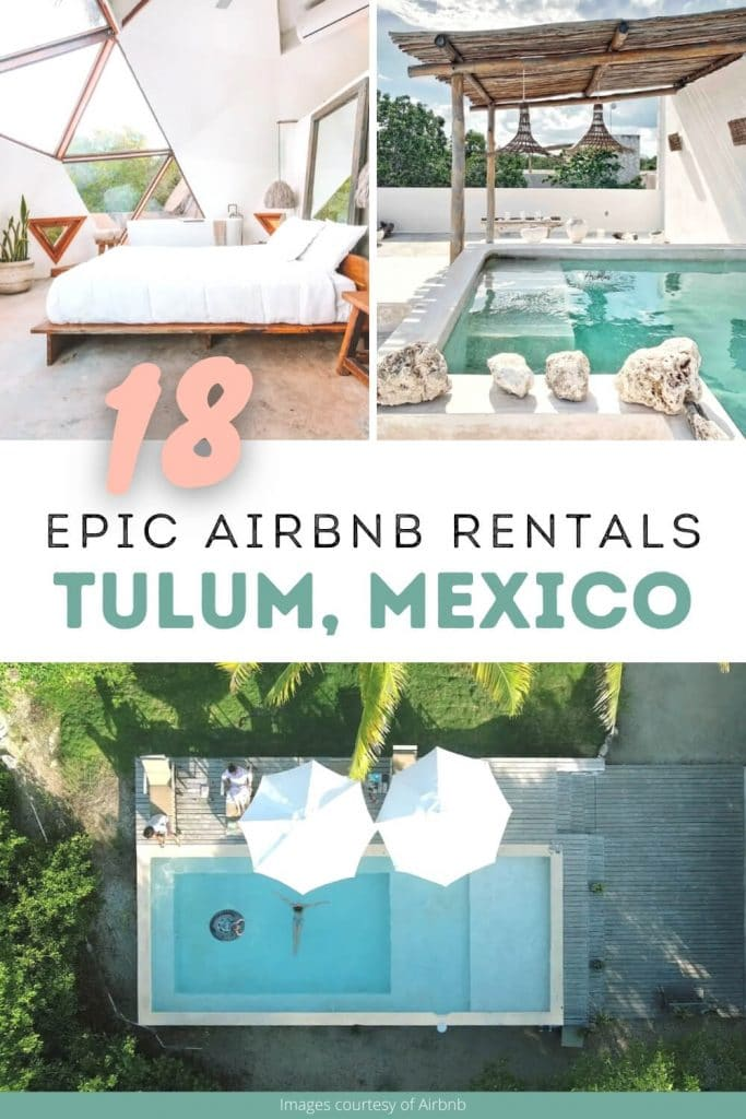Pinterest cover for Tulum Airbnbs