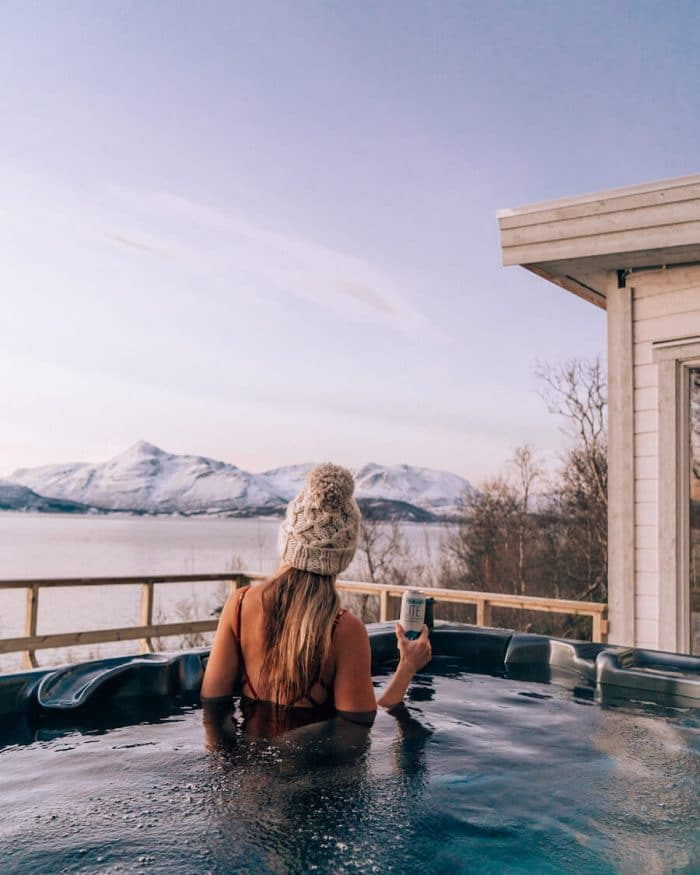 Michelle Halpern in hot tub in Norway