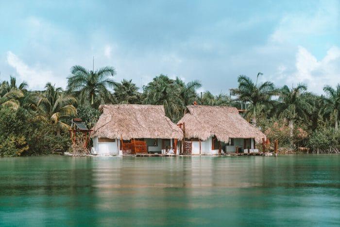 Overwater huts on the Bacalar Lagoon