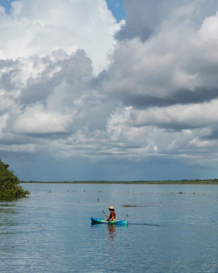 Kayaker on Bacalar Lagoon