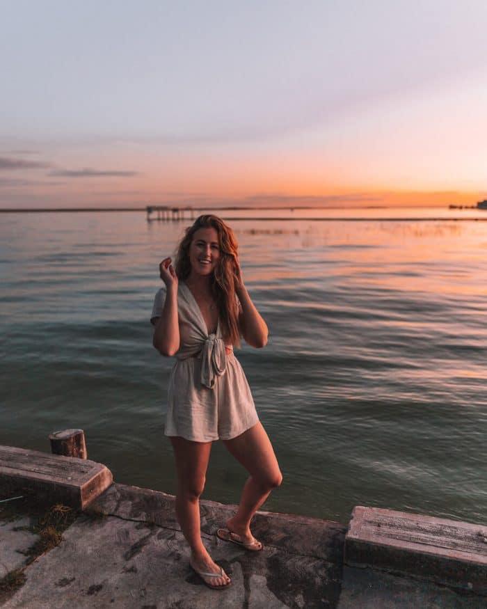 Michelle Halpern at sunset at Bacalar Lagoon