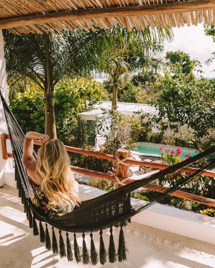 Balcony hammock at Hotel Aires at the Bacalar Lagoon