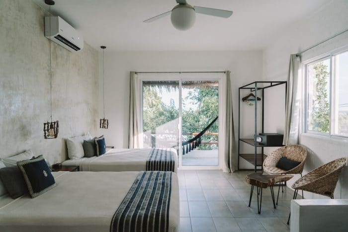 Hotel Aires guest room at Bacalar Lagoon