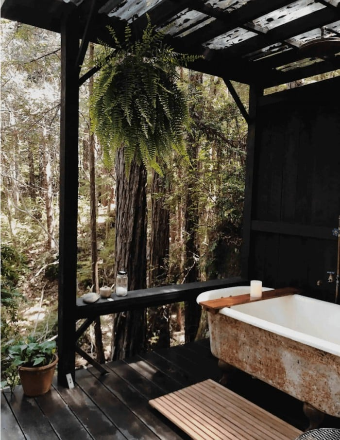 Bathroom at forest camping hut in Elk, California