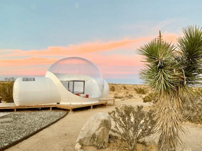 Unique places to stay in California - bubble dome in Joshua Tree