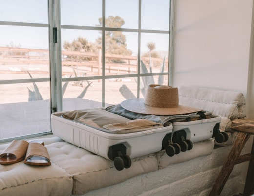 Packing with cool luggage brand Monos' Carry-On case in stellar white