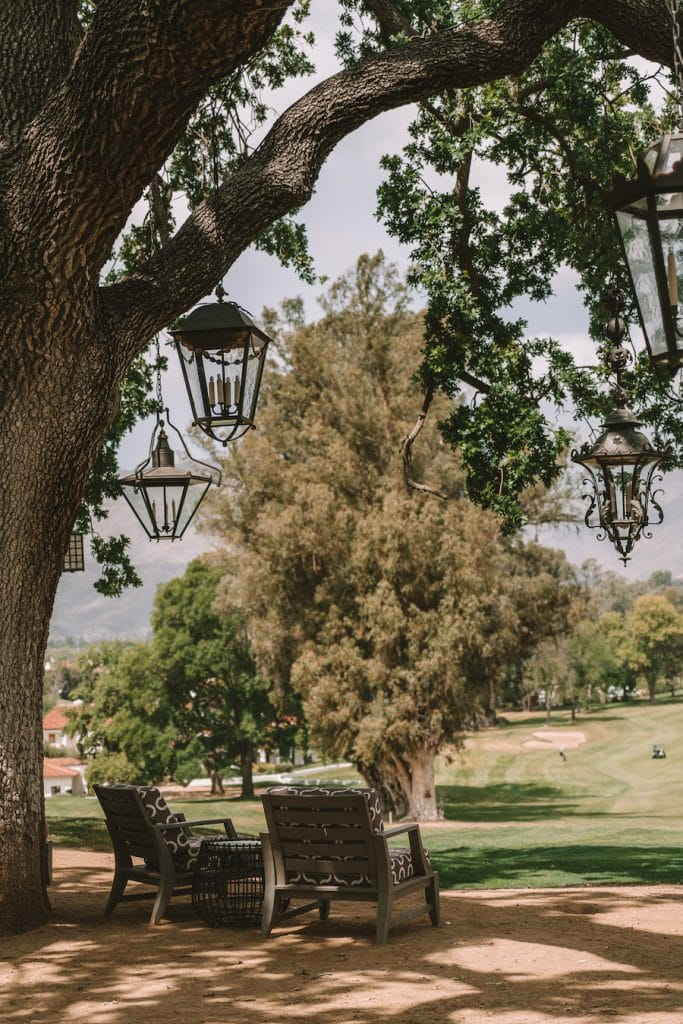Chairs overlooking the golf course at Ojai Valley Inn