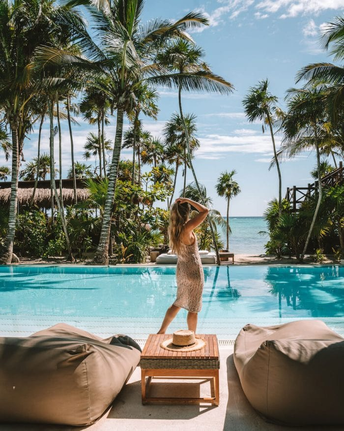 Staying at a beautiful beach hotel is one of the best things to do in Tulum