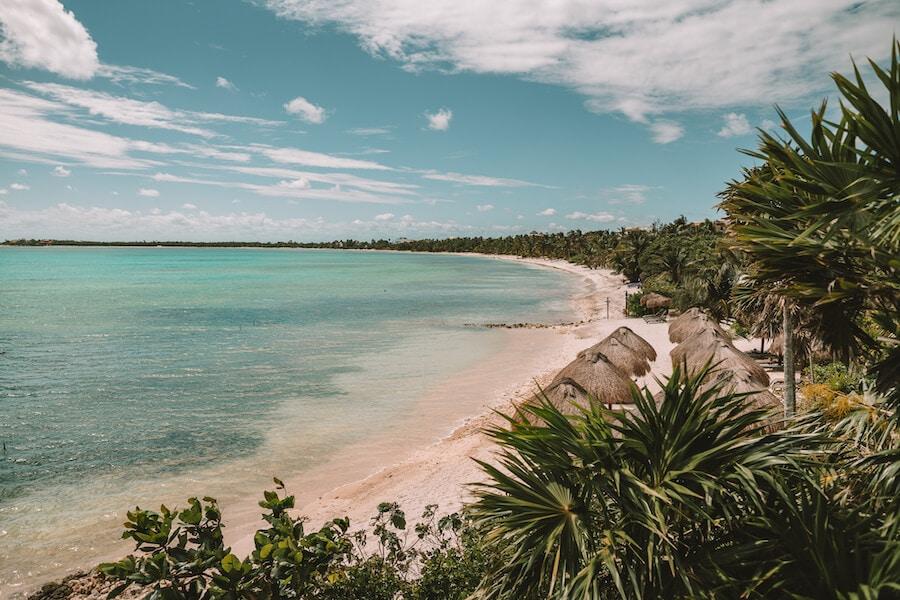 Tulum coastline with beach huts
