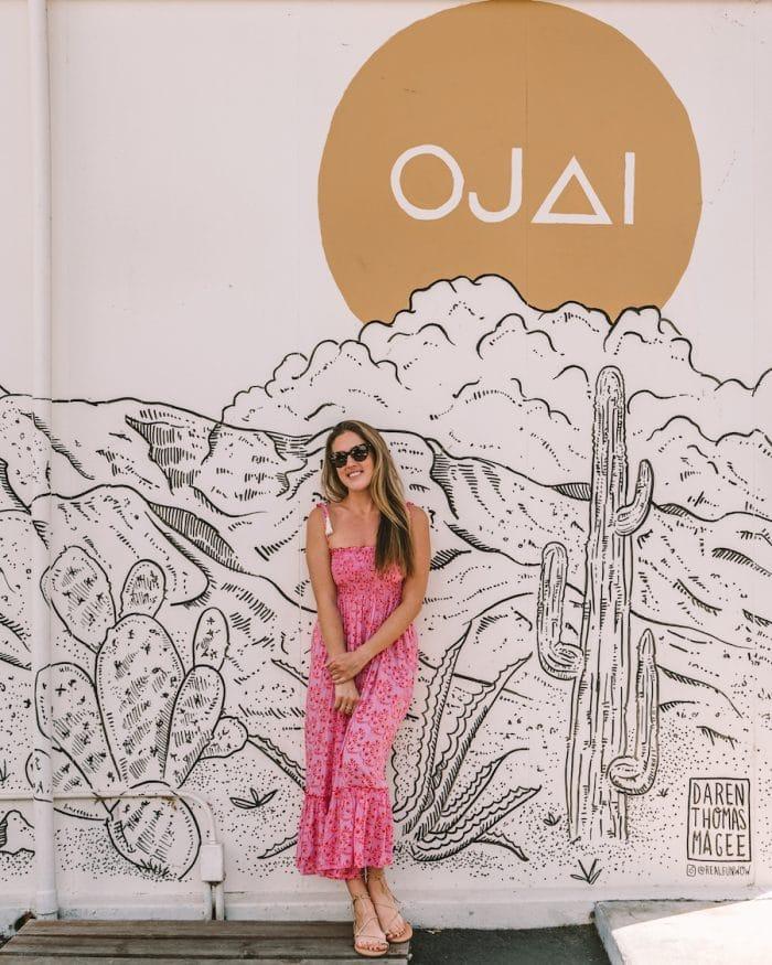 Michelle Halpern in front of Ojai sign