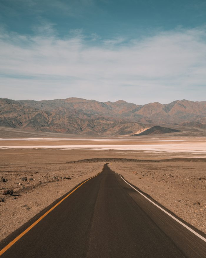 Long straight road in Death Valley