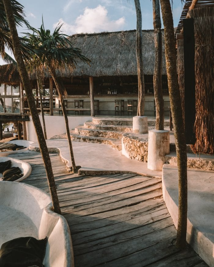 Pathways to the dining area at Papaya Playa Project