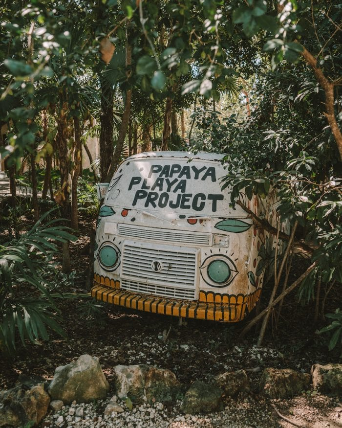 Funky Papaya Playa Project bus in the parking lot