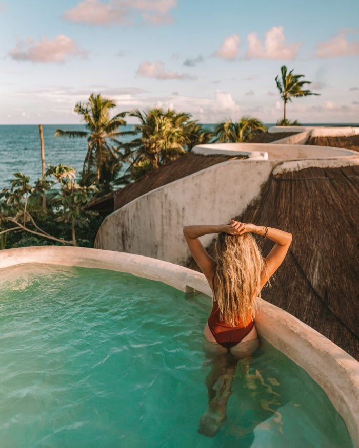 Michelle Halpern in rooftop pool at the Papaya Playa project hotel