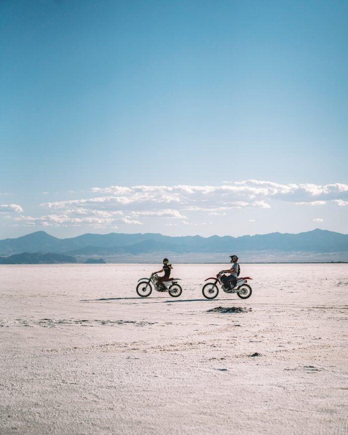 Motorcyclists in Bonneville Salt Flats