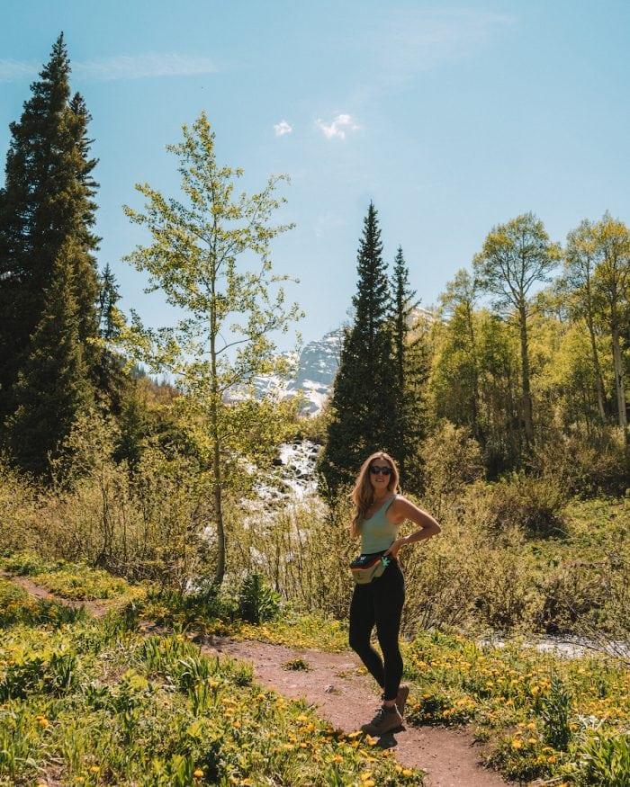 Michelle Halpern hiking in Maroon Bells - Salt Lake City to Yellowstone Road Trip