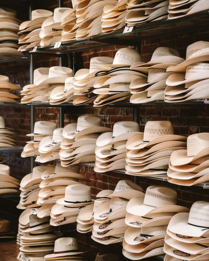 shelves of cowboy hats