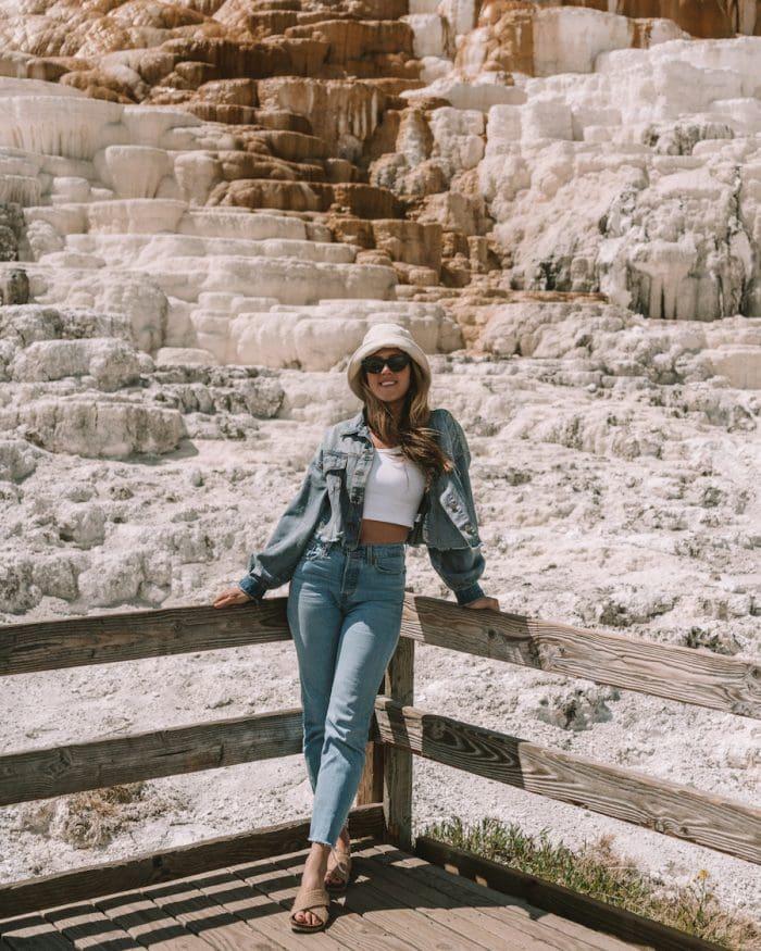 Michelle Halpern at Mammoth Hot Springs