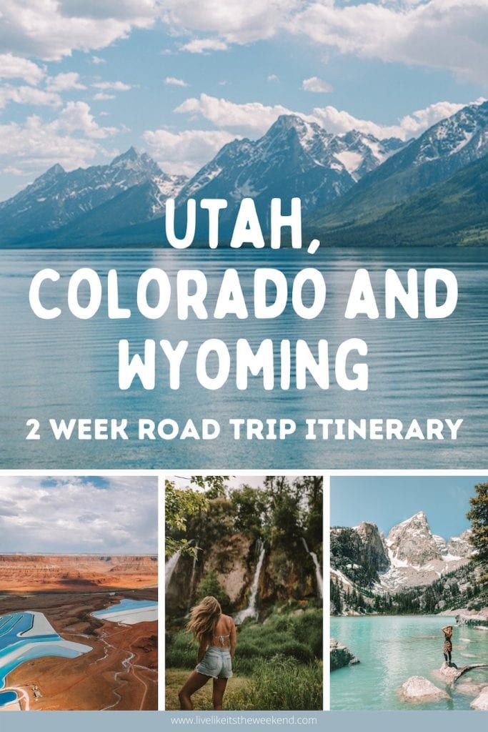 Salt Lake City to Yellowstone road trip itinerary pin cover
