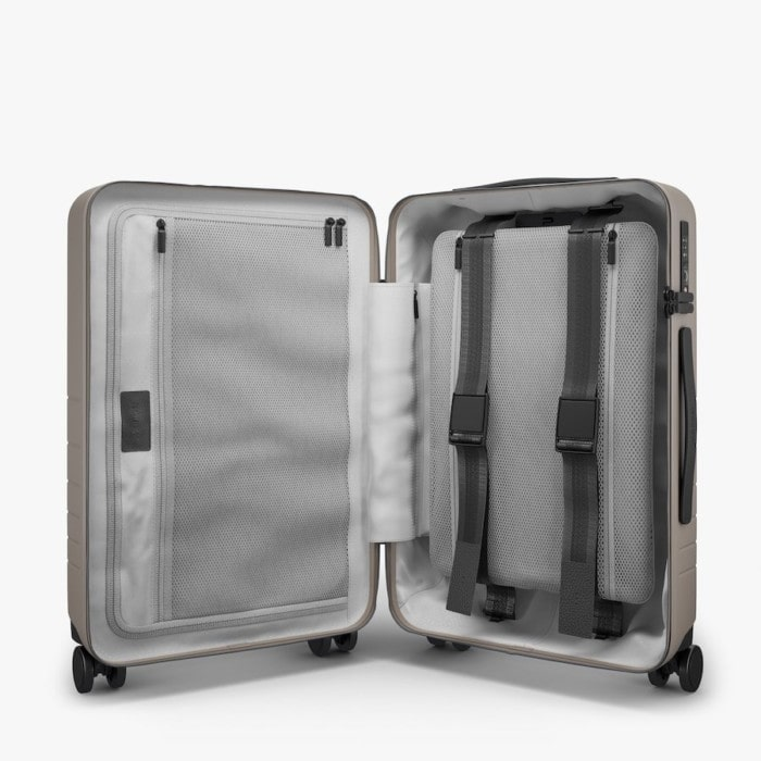 Monos carry on luggage with laptop compartment interior