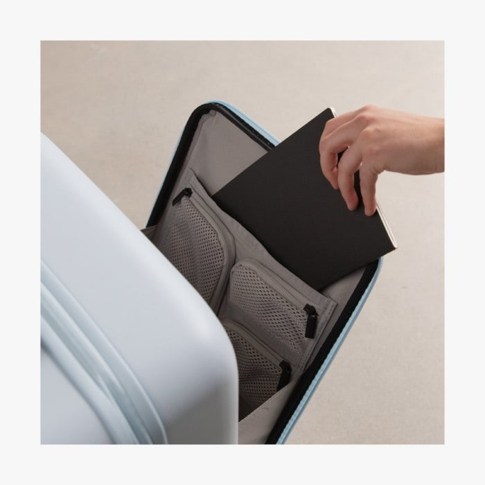 Interior of laptop sleeve on Monos carry-on