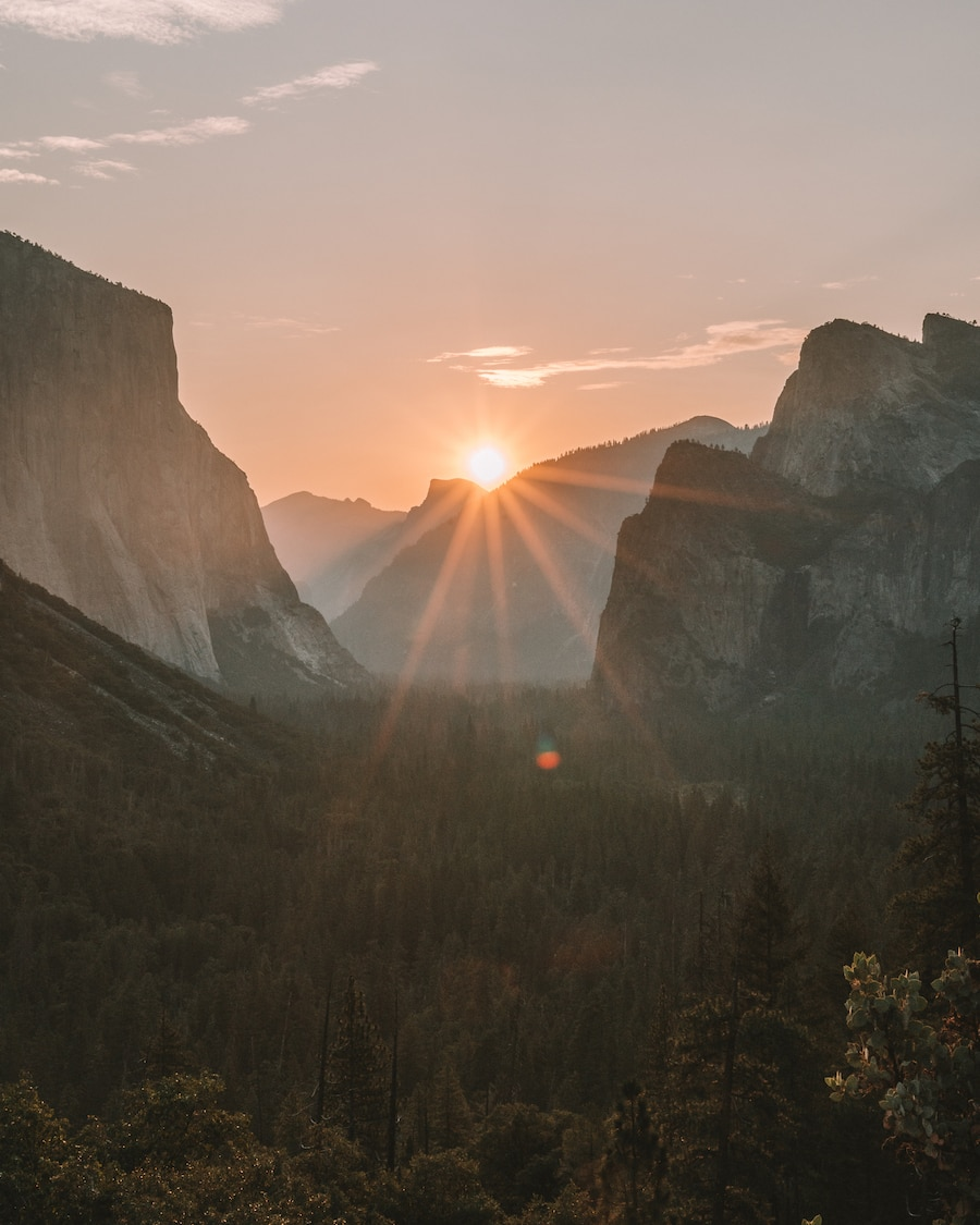 Just after sunrise at Tunnel View, one of the best things to do in Yosemite National Park