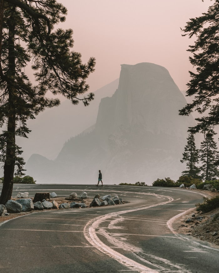 Glacier Point Road on a smoky day in Yosemite