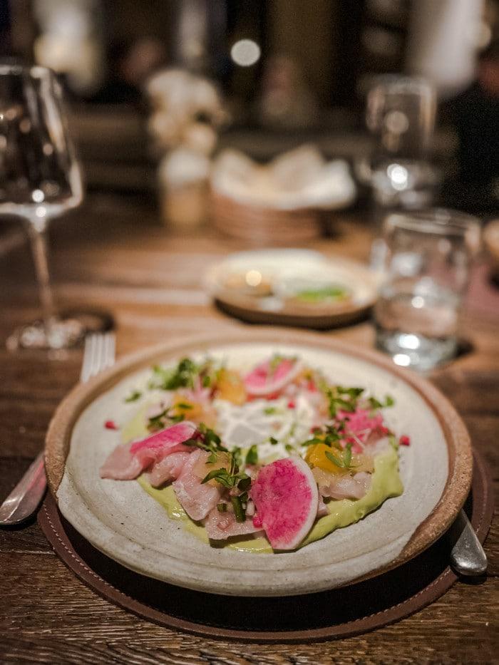 Hamachi dish at SkyFire restaurant