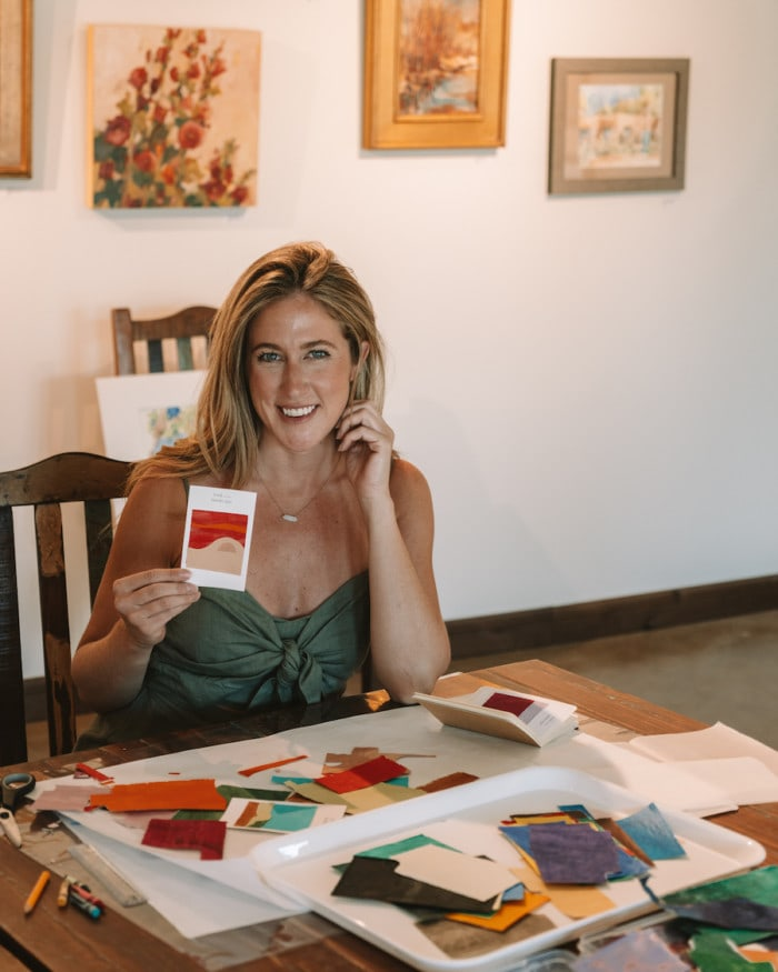 Michelle Halpern participating in Art experience class at Bishop's Lodge