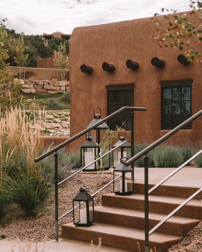 Beautiful staircase and lanterns at Bishop's Lodge