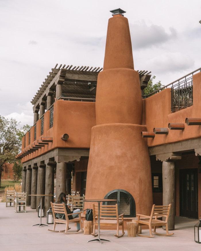 Outdoor kiva fireplace at Bishop's Lodge