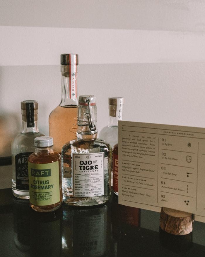 Curated mini bar at Bishop's Lodge