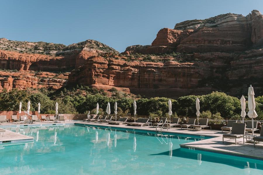 Pool overlooking the towering red rocks at Enchantment Resort, Sedona