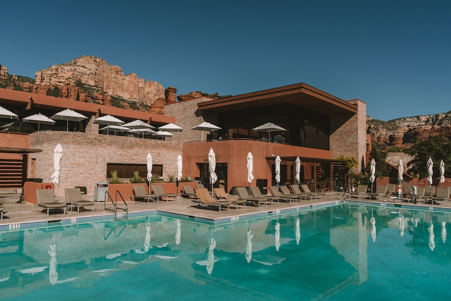 View of the pool and restaurants at Enchantment Resort, Sedona