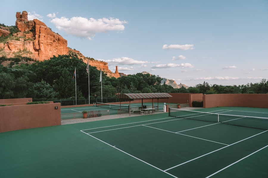 The tennis court at Enchantment Resort