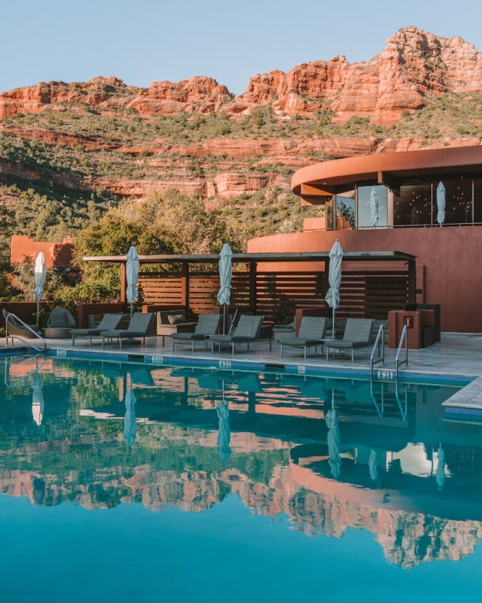 Pool reflections at Enchantment Resort, Sedona