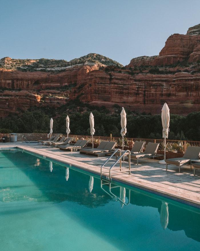 Enchantment Resort pool and symmetrical umbrellas
