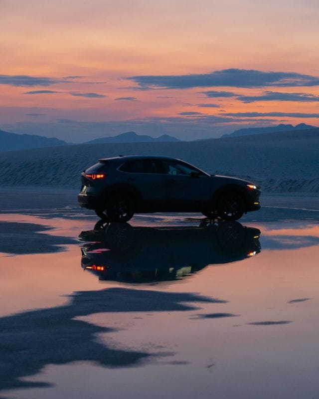 """Not pictured: me freaking out and screaming to """"pull over the car now."""" 👀 Will never forget this gorgeous sunset in White Sands National Park.Thank you @mazdausa for the beautiful memories. #DriveMazda"""
